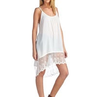 Spaghetti Strap Lace Trimmed Slip Dress