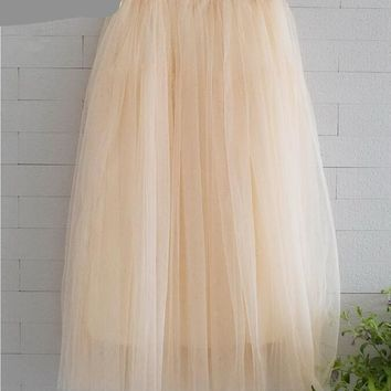 New Fashion Tulle Skirts Women Summer Fashion High Waist Long Skirt Elastic Waist Sun Fluffy Tutu Skirt