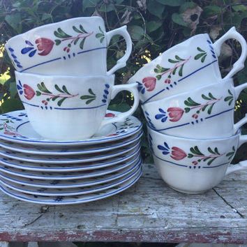 13 pc set of Vintage china Avondale by Nikko tea cups and saucers, French country decor china dishes, cottage chic Provincial tea cup saucer