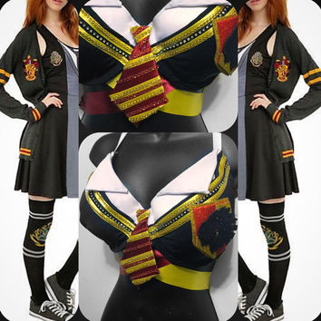 Gryffindor Bra: Harry Potter, hogwarts, wizard, rave wear, festival, cosplay, edc, edc bra, rave bra, edm, New Years, costume, slytherin