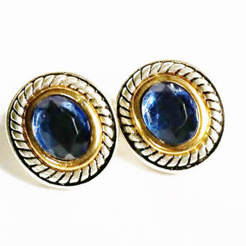 Blue Rhinestone Earrings, Oval Earrings, Silver and Blue, Silver and Gold, Round Silver Earrings, Vintage Jewelry, Blue Glass Rhinestones