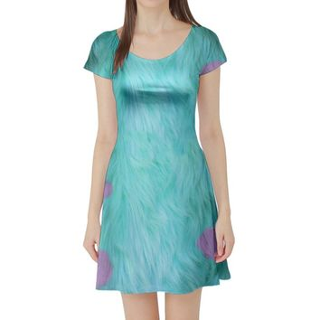 Sulley Monsters Inc Inspired Short Sleeve Skater Dress