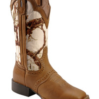 Justin Stampede White Camo Cowgirl Boots - Square Toe - Sheplers