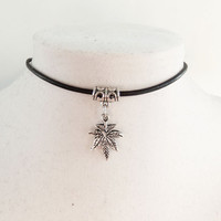 Pot Leaf Choker with charm holder with genuine leather cord 90s grunge hippie style custom sizing and color marijuana 420 mary hane weed