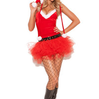 Bubble Mesh Hooded Red Sexy Mrs Santa Claus Costume
