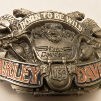 Vintage Official Licensed Baron Harley Davidson Born to Be  Wild Belt Buckle H415