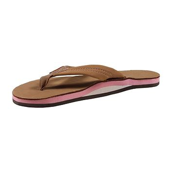 Women's Single Layer Premier Leather Sandal in Sierra Brown with Berry Arch by Rainbow Sandals