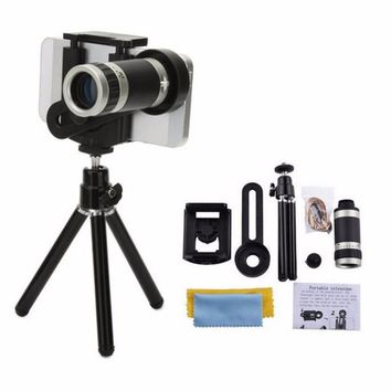 8X Zoom Long-focus Mobile Phone External Lens Universal For Smart Phones Fixed Clip Telescope Camera Lens With Metal Tripod