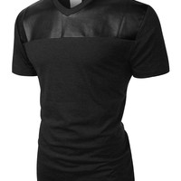 LE3NO Mens Edgy Faux Leather Slub Raglan Short Sleeve T Shirt