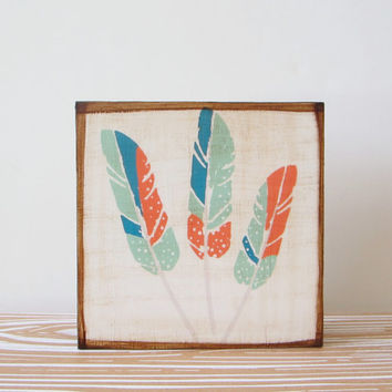 feather wall art- southwestern nursery decor- art blocks-teal mint coral kids room decor redtilestudio