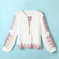 White Embroidered Long Sleeve T-Shirt