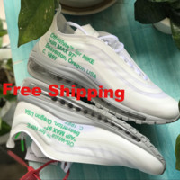 [ Free  Shipping ]Off-White x Nike Air Max 97 OG OW AJ4585-101  Basketball Shoes