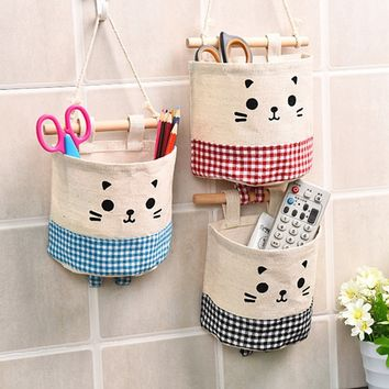 Toy Storage Organizer Holder Storage Bag Cotton and Linen Cartoon Hanging Bathroom Wall Living Room