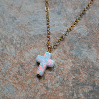 Delicate White Fire Opal Cross Necklace in 14K Gold