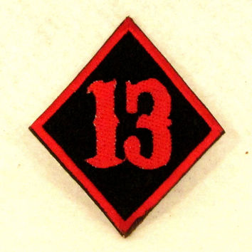 13 Diamond Red on black Small Badge Patch for Biker Vest SB823