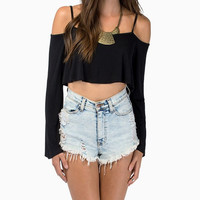 Black Long Sleeve Spaghetti Strap Off- Shoulder Crop Top