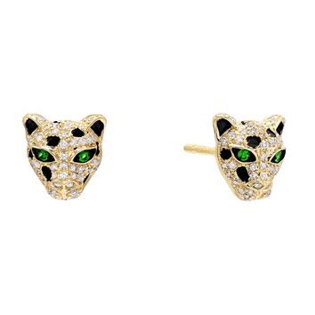 Diamond Emerald Panther Stud Earring 14K
