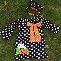 Girls Polka Dot Dress, Girls Ghost Dress, Girls BOO outfit, Girls Halloween Outfit, Toddler Halloween Dress, Baby Girl Halloween Outfit