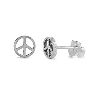 Peace Sign Stud Earrings Sterling Silver - 6mm