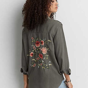 AEO Embroidered Utility Shirt , Olive