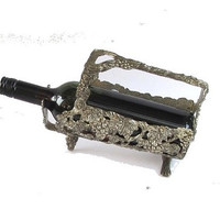 Vintage pewter wine bottle  holder  with vine and grapes reliefs