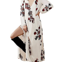 Floral Print Side Split Loose Maxi Dress