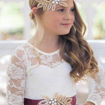 Vivian Wine & Gold Crystal Jewel Sash & Headband Set