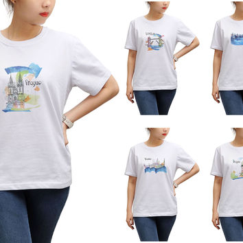 Women Watercolor famous place painting Printed T-shirt WTS_17