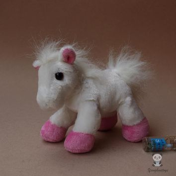 White/Pink Pony Stuffed Animal Plush Toy 6""