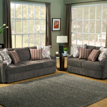 A.M.B. Furniture & Design :: Living room furniture :: Sofas and Sets :: Sofa Sets :: 2 pc Dawson Sterling fabric upholstered sofa and love seat set with square low set back arms and piping trim accents