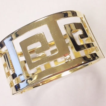 Statement geometric gold hinge bracelet bangle / Boho bohemian gold statement bracelet bangle
