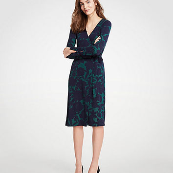 Floral Button Cuff Wrap Dress | Ann Taylor