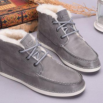 ESBON UGG 1006114 Tall Crack Men Fashion Casual Wool Winter Snow Boots Grey