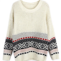 White Vintage Folk Print Long Sleeve Knitted Sweater