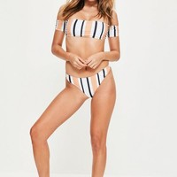 Missguided - White Stripe Bardot Bikini Set