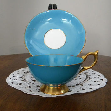 Aynsley Teal/Turquoise, Gold and White Teacup & Saucer, Avon Shape Cup, Gold Handle, Base and Trim, Excellent Condition-1934-1950-England
