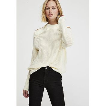 Free People - Ivory Half Moon Pullover Top