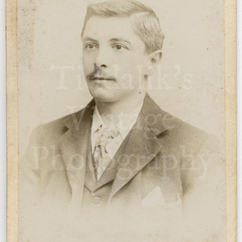 CDV Carte de Visite Photo Victorian Handsome Mustached Man Portrait by A & G Taylor of London England