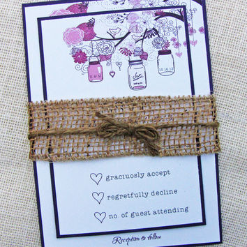 Purple Mason Jar Rustic Burlap belly Band Shabby Chic Country Chic Wedding Invitation Sample