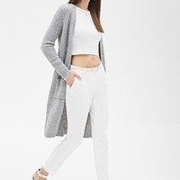 FOREVER 21 Longline Open-Front Cardigan Light Heather Grey