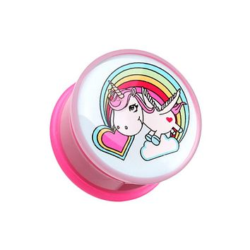 Rainbow Unicorn Single Flared Ear Gauge Plug