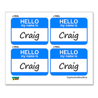 Craig Hello My Name Is - Sheet of 4 Stickers