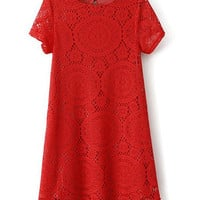 Red Short Sleeve Mini Lace Dress
