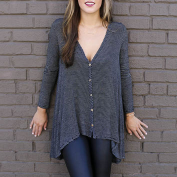 In The Distance Black Striped Hi-Low Knit V-Neck Button Down Tunic