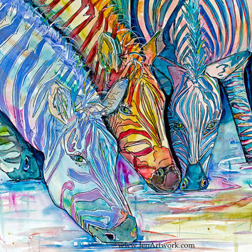 Zebra Watering Hole-Art by Jen Callahan Tile,Cuttingboard,Paper Print