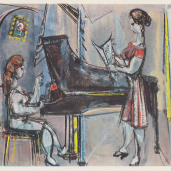"Vintage US Postcard -- Max Weber ""A Musical Evening"" -- 1970?"