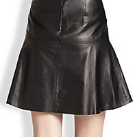 Vince - Leather Fit-&-Flare Skirt - Saks Fifth Avenue Mobile
