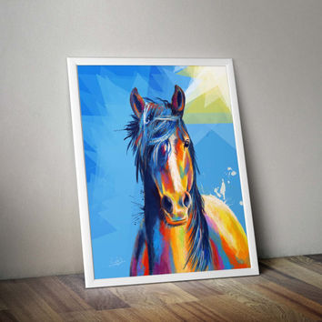 Horse Portrait, Art Print - horse art print, horse illustration, colorful horse, animal prints, horse illustration, horse lovers, wall art