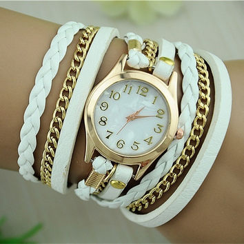 New Fashion Retro Vintage Women Gold Dial Dress Watches Leather Strap Quartz Wrist Watches (With Thanksgiving&Christmas Gift Box)= 1753572548