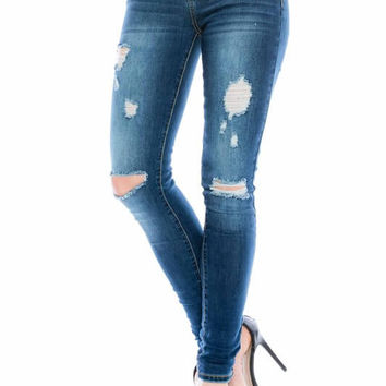 All Around Distressed Skinny Jeans